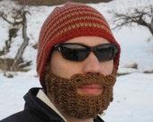 crochet beard hat, crochet beard beanie, The Original Beard Beanie™ red striped - L/XL, knit beard hat, mens beard beanie, knit mustache hat