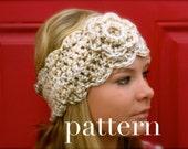 crochet chunky headwarmer with flower - PATTERN ONLY crochet headband pattern pdf file, crochet headwrap pattern, easy crochet headband