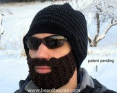 crochet beard hat, black hat with beard, mens beard hat, The Original Beard Beanie™ - black/charcoal striped S/M, mens beard beanie