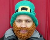 St Patrick's Day bearded leprechaun hat - 100% cotton