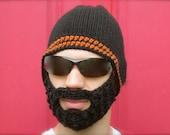 black beard hat, crochet beard beanie, mens bearded toque, crochet mustache hat, The Original Beard Beanie™ Fear the Beard inspired - L/XL
