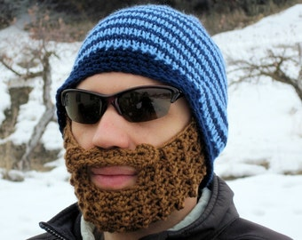 beard beanie crochet mens large hat The Original Beard Beanie™ - blue striped L/XL