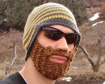 crochet beard hat, crochet beard beanie, mens crochet beard hat, The Original Beard Beanie™ yellow and gray striped - S/M, knit beard hat