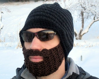 beard beanie mens large hat The Original Beard Beanie™ - black and charcoal striped L/XL