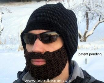 crochet beard hat, black hat with beard, mens beard hat, The Original Beard Beanie™ - black/charcoal striped S/M, mens beard beanie