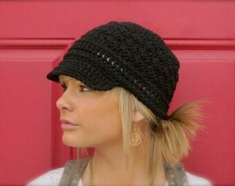 women's black crochet newsboy cap