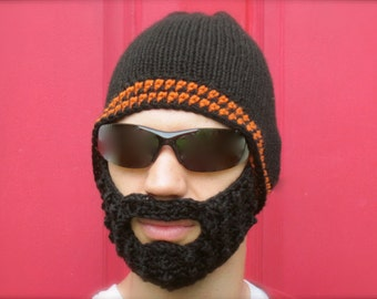 black beard hat, crochet beard beanie, mens bearded toque, crochet mustache hat, The Original Beard Beanie™ Fear the Beard inspired - L/XL