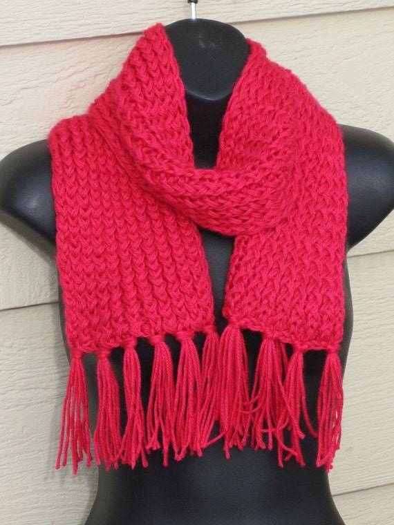 Knitting Loom Scarf Fringe : berry loom knit scarf with fringe super soft