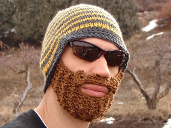 yellow and gray striped bearded beanie