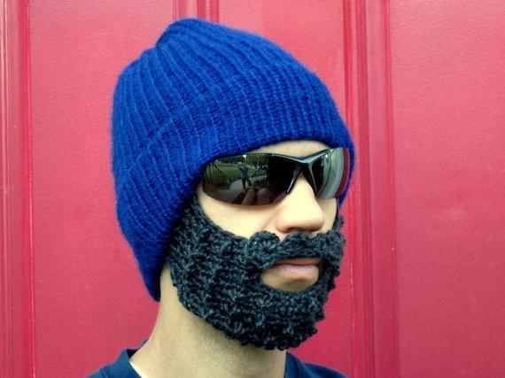 blue bearded stocking hat - L/XL