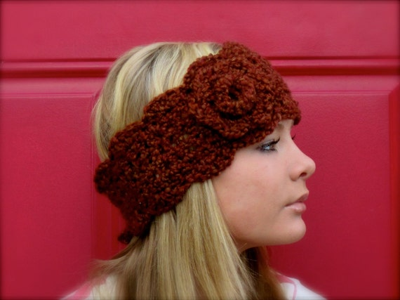 crochet headwarmer headband earwarmer with flower - adjustable size rust