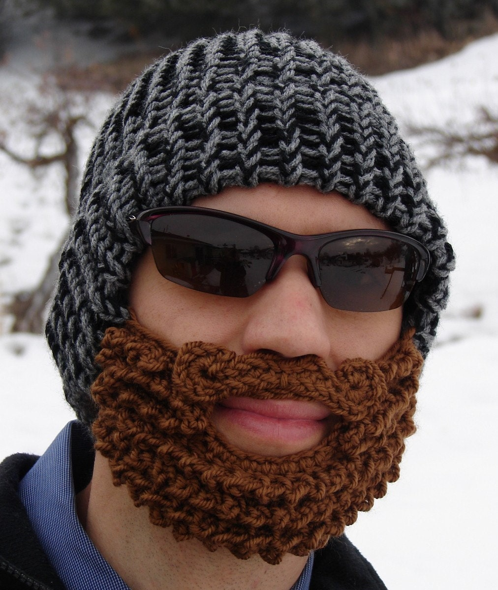 Etsy your place to buy and sell all things handmade bearded lumberjack hat black and gray the original beard beanie crochet beard hat bankloansurffo Images
