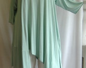 Coco and Juan Plus Size Asymmetric Tunic Top Seafoam Green Rayon Knit Size 1 (fits 1X,2X)   Bust  to 52 inches