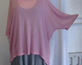 Coco and Juan Lagenlook Plus Size Top  Gray & Pink Mesh Tunic Top One Size Bust  to 68 inches