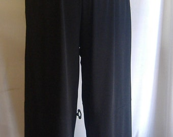 Plus Size Pants Lagenlook Coco and Juan Plus Size Black Traveler Knit Wide Leg Pant  Size 2 fits 3X,4X