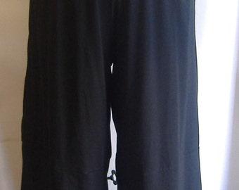 Plus Size Pants, Coco and Juan, Plus Size Lagenlook, Black Cotton Knit Wide Leg Pant, Plus Size 2 fits 3X,4X