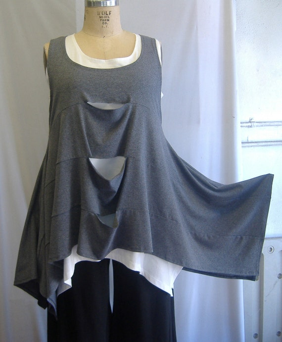 Coco and Juan Plus Size Top Lagenlook Layering  Split Tunic Tank Top Gray Size 1   Bust  to 50 Reserve for Amanda