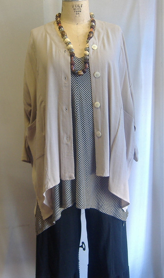 Coco and Juan Plus Size V- Neck Button Front Shirt Jacket Neutral OS Bust 64 inches
