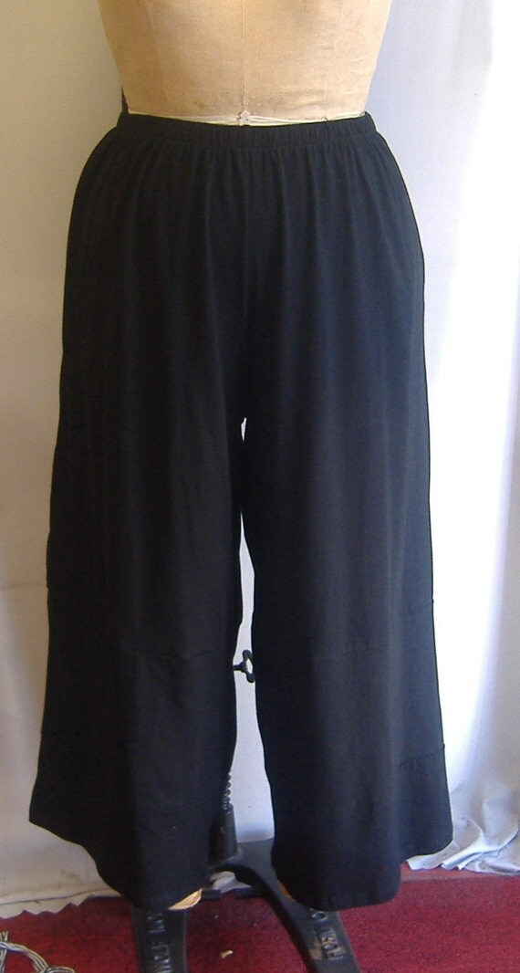 Coco and Juan Plus Size Lagenlook Black Cotton Knit Wide Leg Pant  Size 2 fits 3X,4X