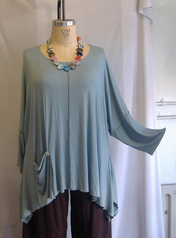 Coco and Juan Lagenlook Plus Size Top Seafoam Knit Angled Tunic Top One Size Bust  to 60 inches LAST ONE