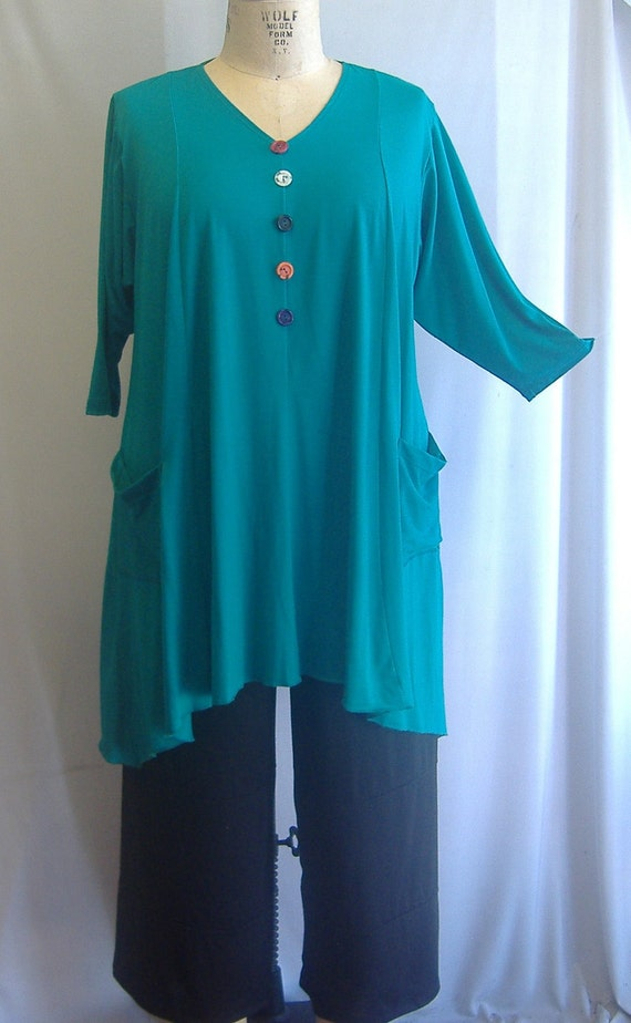 Coco and Juan Lagenlook Plus Size Top  Peacock Green Knit Trapeze Tunic Size 1 (fits 1X/2X)  Bust 51 inches
