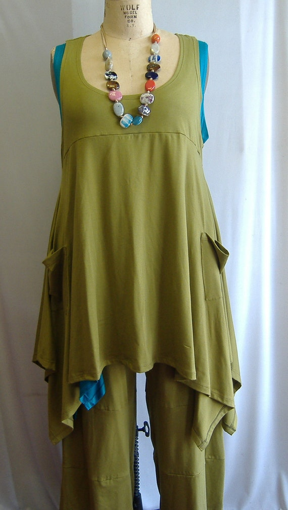 Coco and Juan Plus Size Top Lagenlook Layering Tunic Tank Top Sage Modal Cotton  Knit Size  1 Fits 1X,2X  Bust  to 52 inches