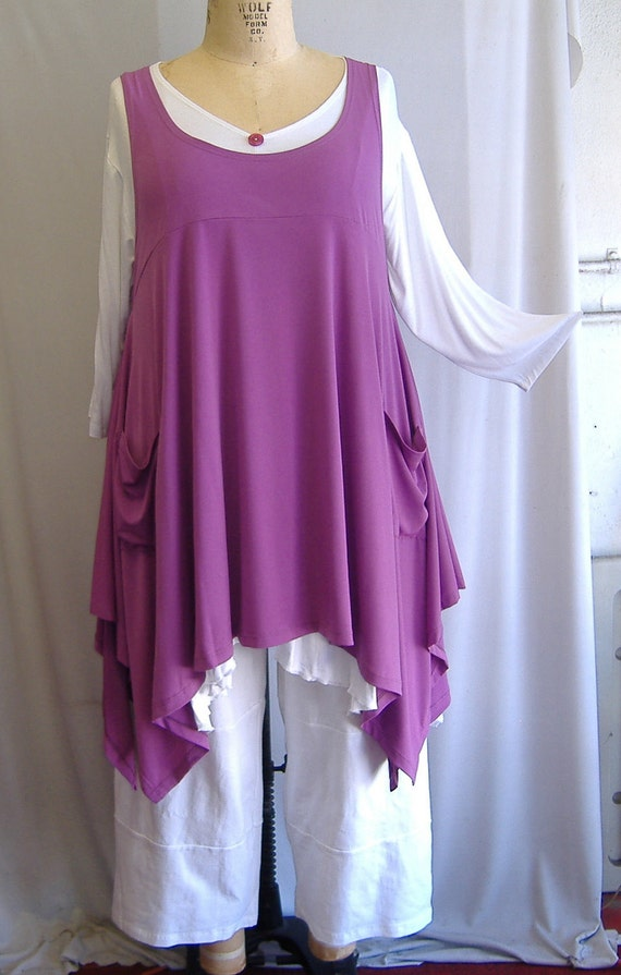 Coco and Juan Plus Size Top Lagenlook Layering Tunic Top Raspberry Traveler  Knit Size 2 Fits 3X,4X  Bust  to 60 inches