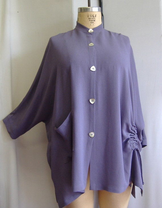 Coco and Juan Art to Wear Lavender Rayon Tunic Top Size 2 fits 3X-4X Bust to 78 inches