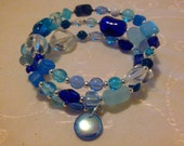 Blue Czech Glass Cuff Bracelet