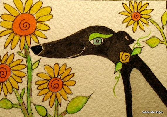 SPECIAL ORDER for JUDY Black and Yellow Grey 5x7  original watercolor X2