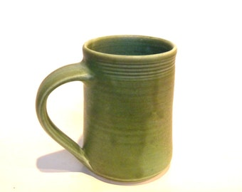 16 oz Handmade Ceramic Mug -- Olive Green Matte -- Hand crafted large mug for tea, cocoa, coffee and iced drinks