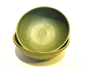 """Set of 8 Handmade Bowls-- Olive Green -- Hand crafted pottery-- 6"""" diameter for soup / cereal"""