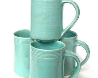 Set of 4 Pottery Handmade Coffee Mugs -- Aqua Blue Hand thrown ceramic mug -- Handmade blue coffee mug set