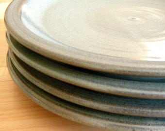 "Set of 4 Slate Grey Dinnerware Plates-- 10"" Hand made Hand crafted pottery set-- Ceramic Dinner Plates"