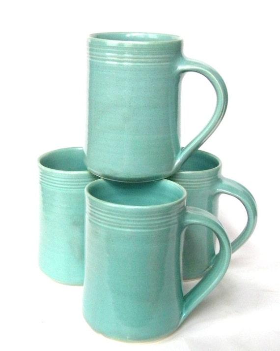 Set of 4 -16 oz Handmade Ceramic Mug -- Aqua Blue -- Hand crafted pottery-- Mugs for tea, cocoa, coffee