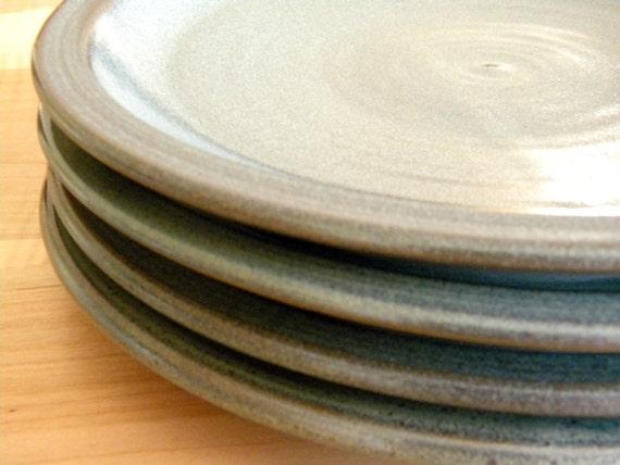 set of 4 slate grey dinnerware plates 10 hand made