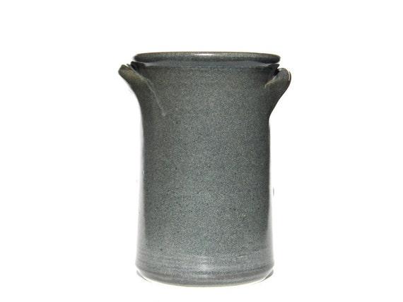 Slate Grey Kitchen Spoon Jar with Handles -- Large Handmade Stoneware Ceramic Jar Container