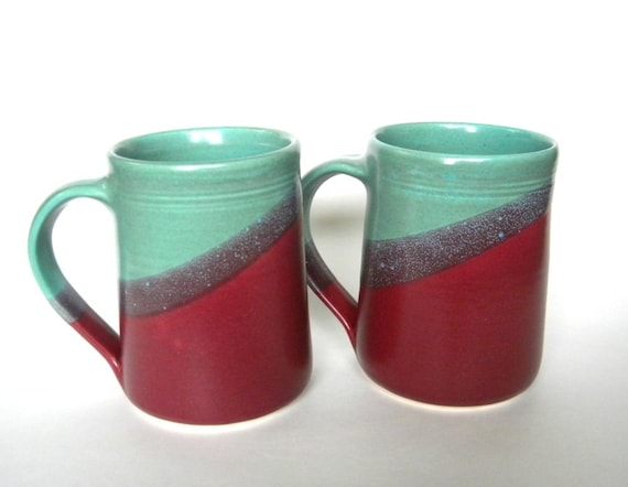 Set of 2 Large Handmade Ceramic Mugs  -- Two toned colored Aqua and Raspberry -- 16 oz Hand crafted blue and red cup