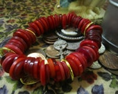 Metal Ring and Button Bracelet -- Red Metal Jump Rings