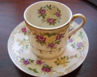 1940s Demitasse Size Bone China Cup and Saucer