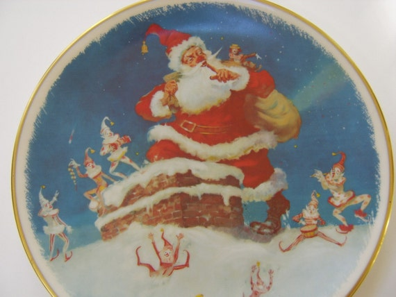 "Christmas 1977 Gorham Fine China Limited Edition   ""CHRISTMAS VISIT""  Collector  Plate"