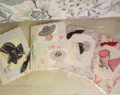 Handmade Greeting Cards, vintage style, Set of 4, cottage chic