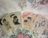 Handmade Vintage style Greeting Cards, Set of 4