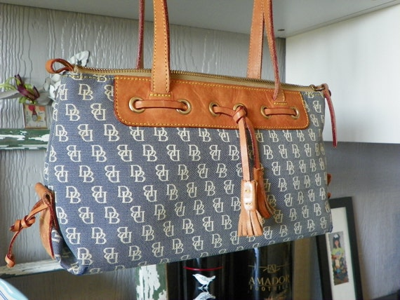 Vintage Dooney & Bourke Purse  Fabric with Leather Trim Handbag