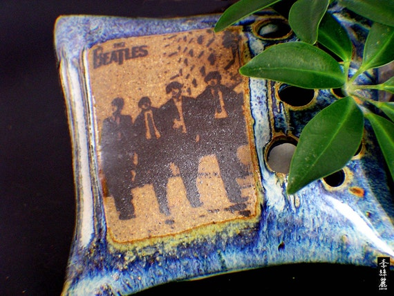The Beatles on a Clay Pillow Shaped Flower Vase