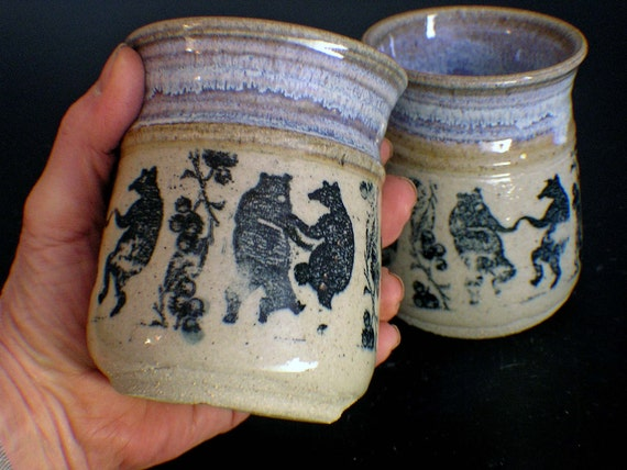 A Pair of Dancing Bear and Blueberry Stoneware Cups on SALE