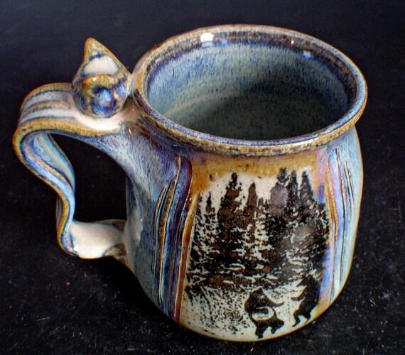 SALE Stoneware Coffee Mug Dancing Bear Design 20 Ozs
