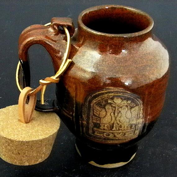 SALE Extra Large Travel Mug With Cork,  Love Birds Design