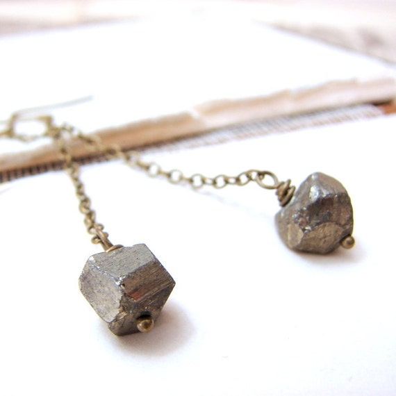 Simple pyrite earrings earthy rough fools gold space chunk earrings
