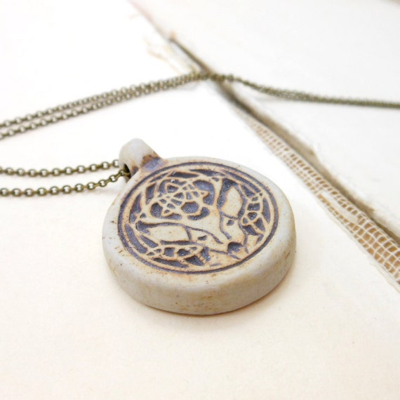 Woodland deer necklace with celtic knot antlers